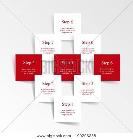 Step by step infographic design. Boxes on simple background with 9 numbers and text can be used for workflow layout diagram chart number options web design business presentation trainings.