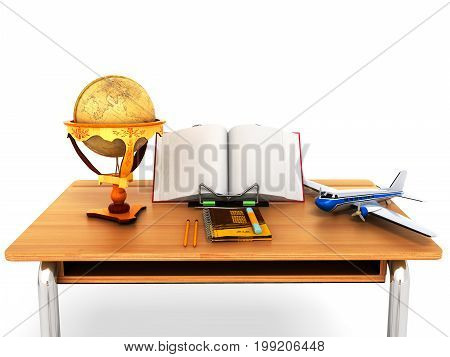 Concept School And Education Geography Globe Desk 3D Render On White Background