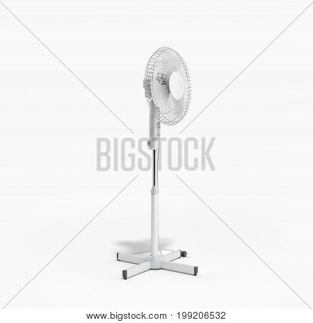 White Electric Fan 3D Render On White Background