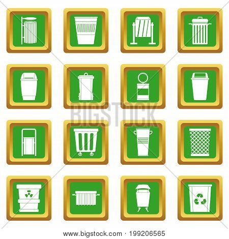 Garbage container icons set in green color isolated vector illustration for web and any design
