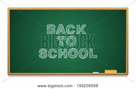School board with chalk. Chalk and sponge. Back to school. Vector illustration