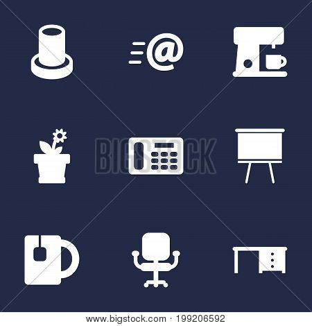 Collection Of Cup, Blackboard, Desktop And Other Elements.  Set Of 9 Office Icons Set.