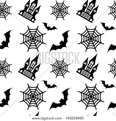 Hallowen seamless pattern. Flat vector cartoon illustration. Objects isolated on background.