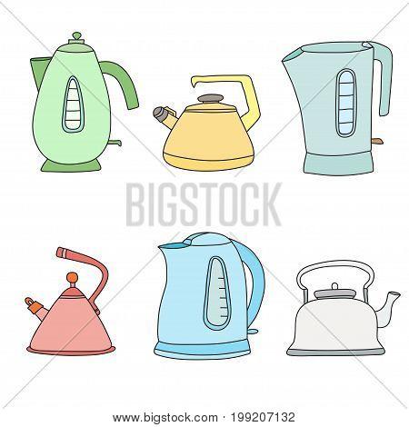 Tea time cartoon set. Vector isolated objects. Pretty teapots.
