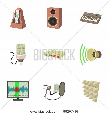 Music work icons set. Cartoon set of 9 music work vector icons for web isolated on white background