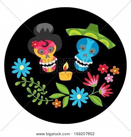 Poster with colorful skulls with  candle and flower wreath for day of the dead or halloween. Sugar skuuls for mexican day of the dead or halloween. Cute skulls and flowers in a cartoon style.