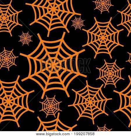 Orange halloween cobweb seamless pattern. Flat vector cartoon illustration. Objects isolated on black background.