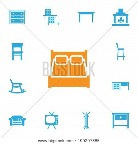 Collection Of Couch, Bookcase, Rocking Furniture And Other Elements.  Set Of 13 Decor Icons Set.