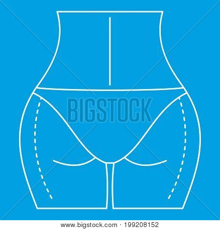 Woman body ready for liposuction operation icon blue outline style isolated vector illustration. Thin line sign