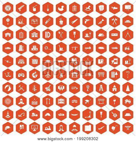 100 lorry icons set in orange hexagon isolated vector illustration