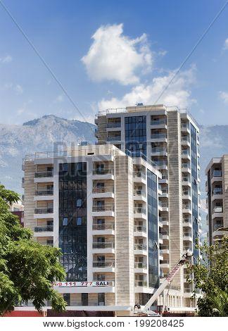 BUDVA MONTENEGRO - JUNE 27 2017: New buildings on the streets of Budva