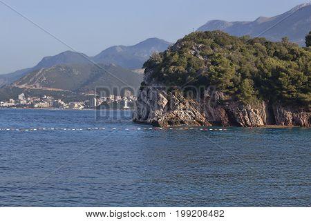 Picturesque Coastline Near The Island Of Sveti Stefan