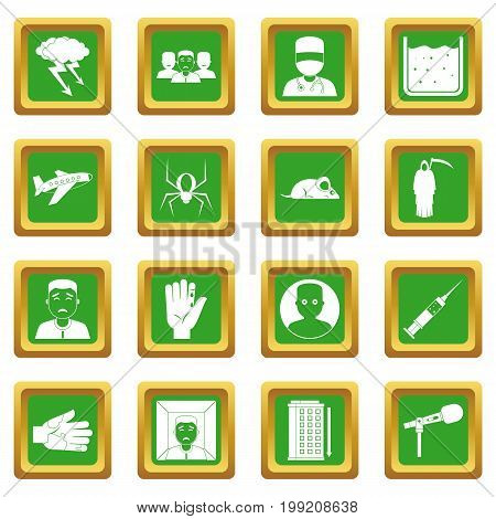 Phobia symbols icons set in green color isolated vector illustration for web and any design