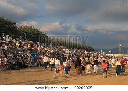 KANAZAWA JAPAN - AUGUST 5, 2017: Unidentified people visit Kawakita fireworks festival.