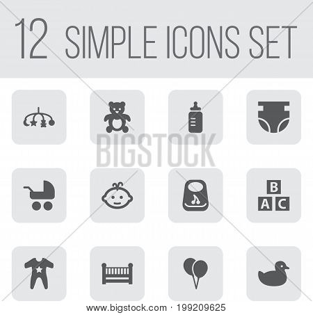 Collection Of Breastplate, Pram, Cot And Other Elements.  Set Of 12 Kid Icons Set.