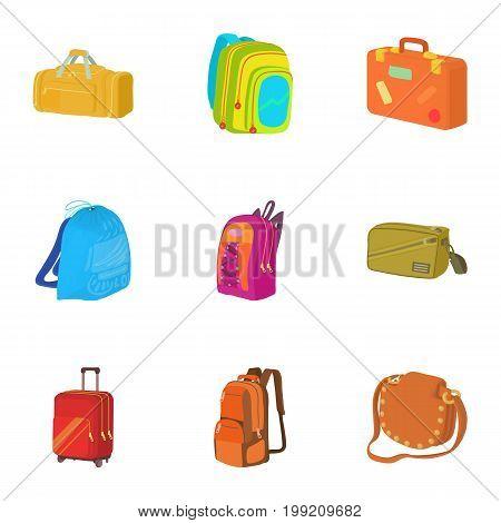 Luggage icons set. Cartoon set of 9 luggage vector icons for web isolated on white background