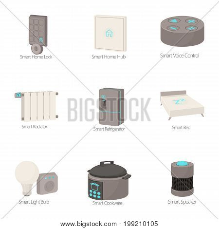 Smart house icons set. Cartoon set of 9 smart house vector icons for web isolated on white background