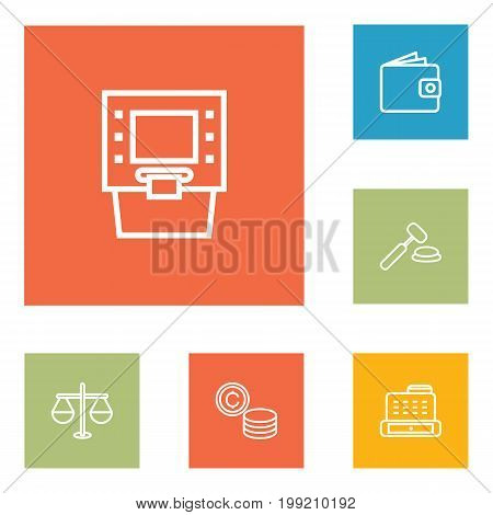 Collection Of Justice, Cash Register, Auction And Other Elements.  Set Of 6 Budget Outline Icons Set.