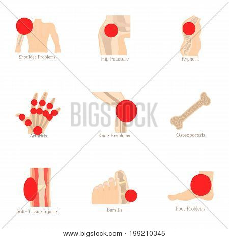 Anatomical knowledge icons set. Cartoon set of 9 anatomical knowledge vector icons for web isolated on white background