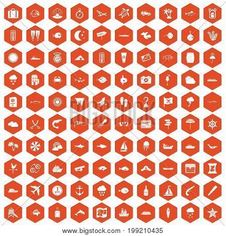 100 marine environment icons set in orange hexagon isolated vector illustration
