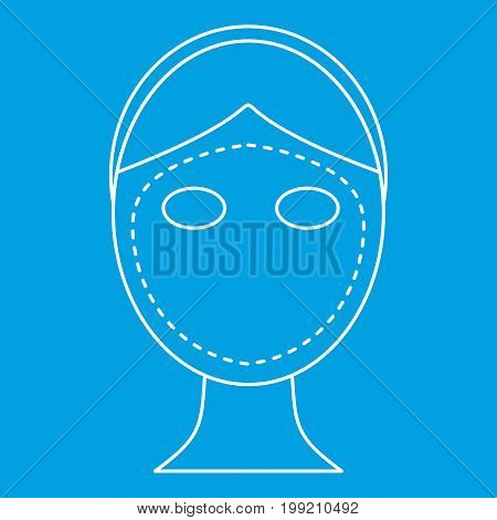 Facelifting icon blue outline style isolated vector illustration. Thin line sign poster