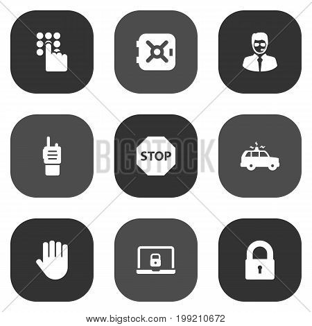 Collection Of Strongbox, Hand , Security Man Elements.  Set Of 9 Procuring Icons Set.