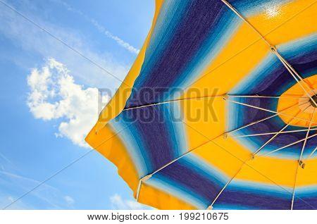 Colored Sun Umbrella, Blue Sky, Outdoor, Half Close Up