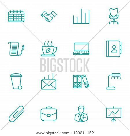 Collection Of Date, Administrator, Telephone Directory And Other Elements.  Set Of 16 Bureau Outline Icons Set.