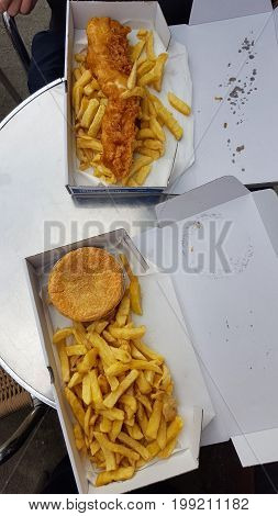 Fish and chips and cornish pasty with chips