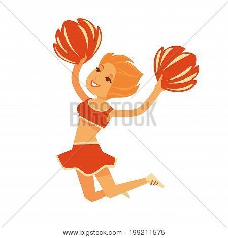 Redhead cheerleader in orange top and light skirt jumps high with bright pompons isolated cartoon vector illustration on white background. Sportswoman shows performance to encourage team and audience.