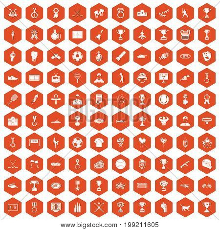 100 medal icons set in orange hexagon isolated vector illustration