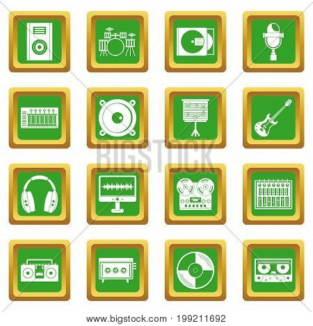 Recording studio items icons set in green color isolated vector illustration for web and any design