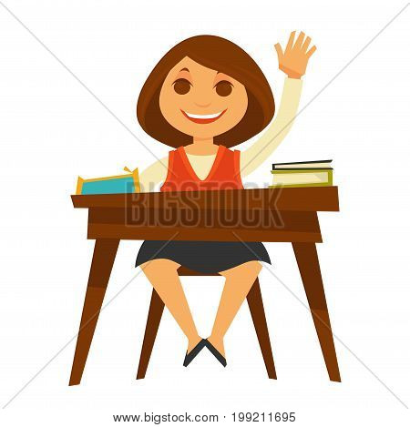 Girl in uniform sits at desk with thick textbooks and penal, raises her hand to answer isolated vector illustration on white background. Child during education process in educational institution.