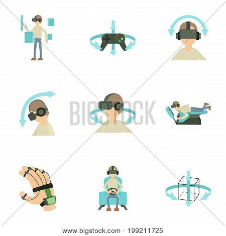Virtual reality icons set. Cartoon set of 9 virtual reality vector icons for web isolated on white background