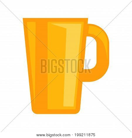 Vector illustration of simple yellow colored cup isolated on white.