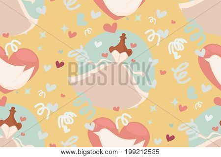 Wedding abstract seamless pattern in pastel soft colors. Godd for bridal present wrap decoration, walpapers, menu. Vector Illustration.
