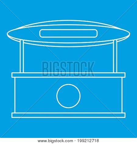 Store kiosk with awning icon blue outline style isolated vector illustration. Thin line sign