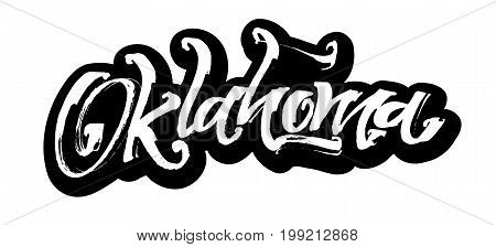 Oklahoma. Sticker. Modern Calligraphy Hand Lettering for Silk Screen Printing