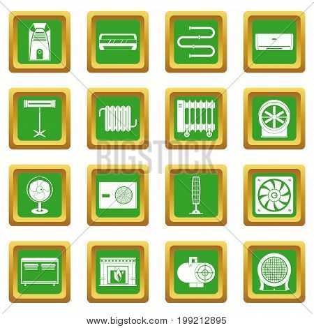 Heating cooling air icons set in green color isolated vector illustration for web and any design