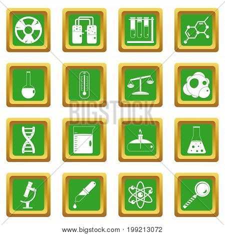 Chemical laboratory icons set in green color isolated vector illustration for web and any design