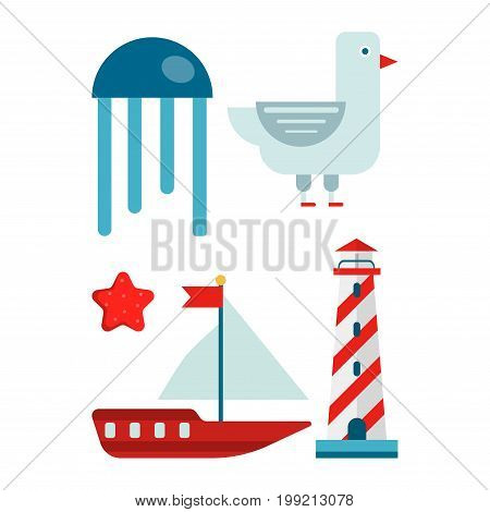 Big blue jellyfish, funny seagull, red starfish, small sailboat with flag and tall striped lighthouse. Marine themed set of isolated cartoon minimalist vector illustrations on white background.