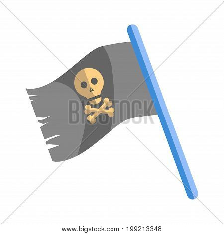 Old shabby black pirates flag with human skull and crossed bones on blue wooden stick isolated vector illustration on white background. Symbol of ancient criminals that live on seagoing vessels.