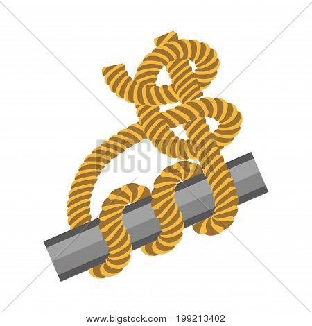 Metal stick with strong rope tied around in knot isolated vector illustration on white background. Special sailors technique for strong nodes creation. Tough hawser around piece of iron plank.