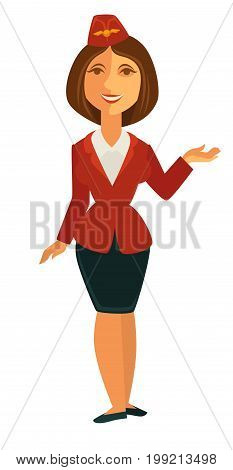 Vector illustration of cheerful hostess in red uniform isolated on whtie.