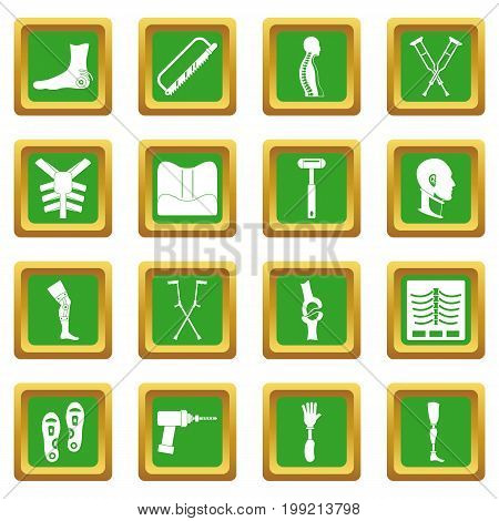 Orthopedics prosthetics icons set in green color isolated vector illustration for web and any design