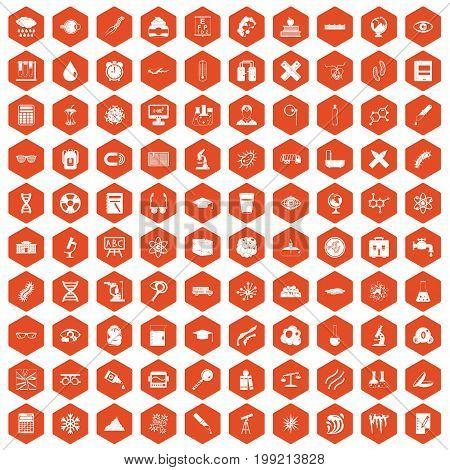 100 microscope icons set in orange hexagon isolated vector illustration