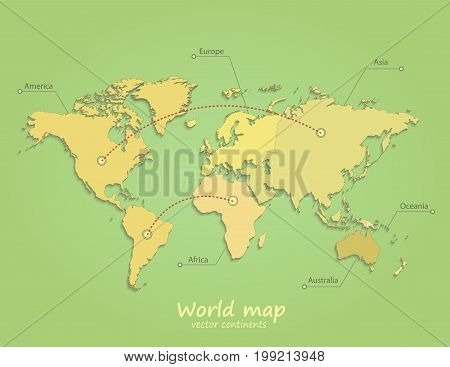 world map continents green yellow vector separate