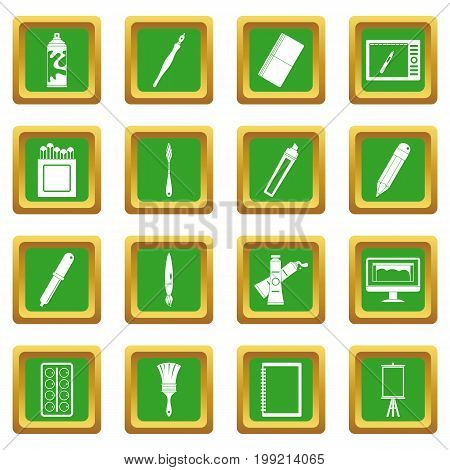 Design and drawing tools set. Simple illustration of 16 design and drawing tools vector icons set in green color isolated vector illustration for web and any design