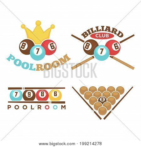 Vector illustration of different emblems of poolroom and billiard club isolated on white.