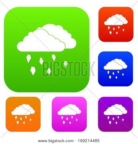 Clouds and hail set icon in different colors isolated vector illustration. Premium collection